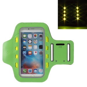 LED Flash Mobile Phone Sports Running Armband Sleeve for iPhone 6s Plus/Samsung Galaxy A9 (2016) - Green