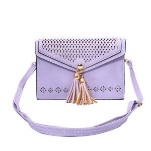 Hollow Flower Dual-layer Leather Shoulder Bag for iPhone 6s Plus / Galaxy A9 - Purple