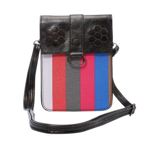 Fashion Stripes Wallet Leather Phone Shoulder Pouch Bag for iPhone 6s Plus, Size: 175 x 130mm - Black