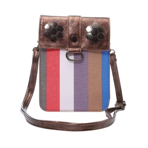 Fashion Stripes Wallet Leather Phone Shoulder Pouch Bag for iPhone 7 Plus/ 6s Plus, Size: 175 x 130mm - Coffee