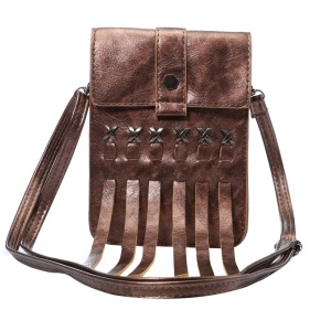 Tassels Leather Shoulder Bag Pouch for iPhone 6s Plus/Samsung A9, Size: 168 x 126mm - Brown