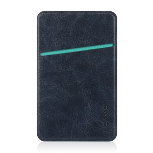 USAMS Universal Leather Card Back Adhesive Sticker for iPhone Samsung Huawei - Dark Blue