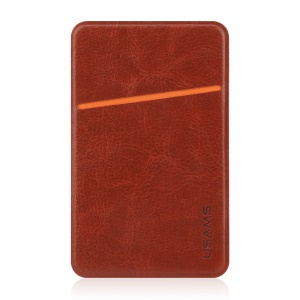 USAMS Universal Leather Card Holder Adhesive Sticker for iPhone Samsung Huawei - Brown