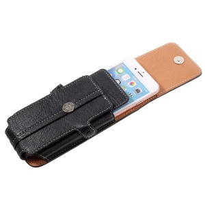 Outdoor Card Holder Leather Pouch for Galaxy S5/iPhone 6s 7, Size: 150x73x15mm - Black