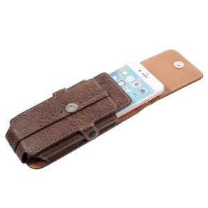 Outdoor Card Slots Leather Pouch Case for Galaxy S5/iPhone 7 6s, Size: 150x73x15mm - Coffee