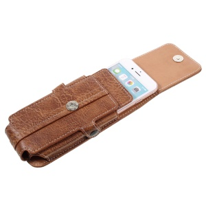 Card Holder Sleeve Pouch + Carabiner for Galaxy S5/iPhone 7 6s, Size: 150x73x15mm - Brown