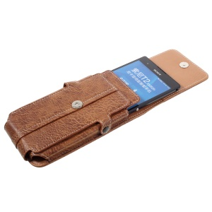 Card Slots Leather Pouch + Carabiner for iPhone 6s Plus/Galaxy A9, Size: 172x95x18mm - Brown