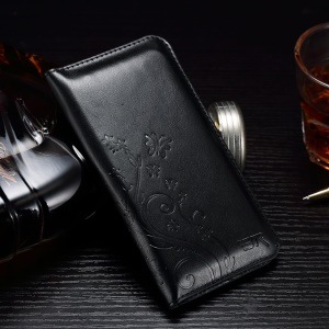 Imprinted Pattern Leather Universal Leather Wallet Case for iPhone 7 6s 6 - Black