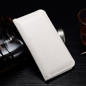Imprinted Flora Universal Leather Pouch Sleeve Wallet for iPhone 7 Plus/ 6s Plus, Size: 160 x 80mm - White
