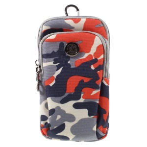 Camouflage Dual Pockets Universal Wear-resistant Nylon Pouch Bag for iPhone 6s Plus/Samsung Galaxy S7 edge - Red