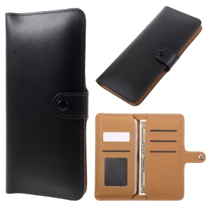 Genuine Split Leather Wallet Estojo Universal para iPhone 6s Plus / Samsung Galaxy S7 edge - negro