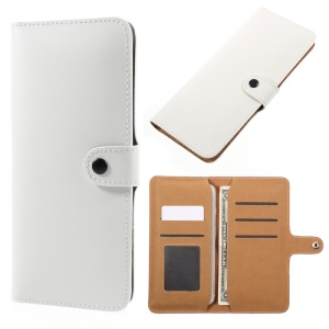 Genuine Split Leather Wallet Universal Cover for iPhone 6s Plus/Samsung Galaxy S7 edge - White