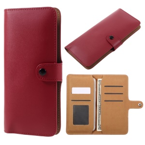 Genuine Split Leather Wallet Universal Shell for iPhone 7 Plus/ 6s Plus/Samsung Galaxy S7 edge - Red