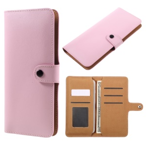 Genuine Split Leather Wallet Phone Cover for iPhone 7 Plus/ 6s Plus/Samsung Galaxy S7 edge - Pink