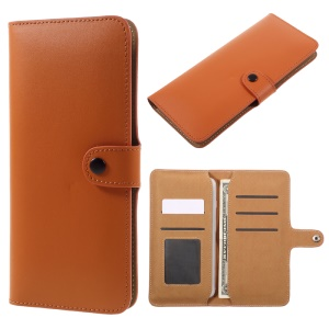 Genuino Split cuero Wallet Phone Shell para el iPhone 7 Plus / 6s Plus / Samsung Galaxy borde S7 - naranja