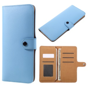 Genuine Split Leather Wallet Protective Cover for iPhone 6s Plus/Samsung Galaxy S7 edge - Blue