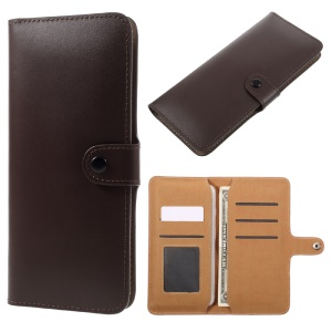 Multi-slot Purse Split Leather Pouch for iPhone 7 6s / Sony Z5 Compact, Size: 140 x 72mm - Coffee