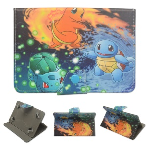 Pokemon Go Leather Stand Flip Cover Case for Samsung Galaxy Tab 3 7.0 P3200 - Three Monsters