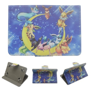 Pokemon Go Leather Stand Protective Case for Samsung Galaxy Tab 3 7.0 P3200 - Lovely Monsters and Moon