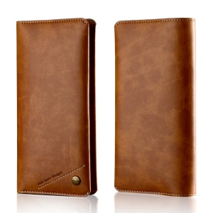 WUW Universal Wallet Leather Case for iPhone 7 Plus/ 6s Plus/Samsung Note7 Etc - Brown