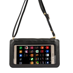 Universal View Window Touch Screen Leather Crossbody Wallet Purse Phone Pouch Bag, porte: 20 x 11.5cm - negro