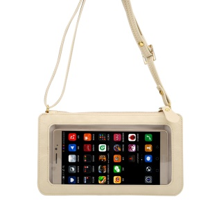 View Window Touch Screen design Universal Crossbody Cell Phone Wallet Purse Bag - White