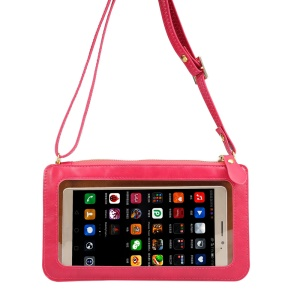 Universal PU Leather Screen Touch CellPhone Crossbody Bag Case Shoulder Pouch, Size: 20 x 11.5cm - Rose
