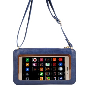 Universal View Window Touch Screen Leather Cross-body Purse Mobile Pouch Soft PU Leather Case, Size: 20 x 11.5cm - Blue