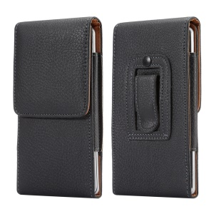 Vertical PU Leather Holster Case with Belt Clip for iPhone 8 Plus/7 Plus/Samsung S9+/S8+/Note7/8 - Black