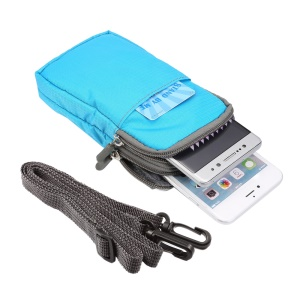 Sports Waist Bag Pack Pouch with Hook for iPhone X/8/8 Plus/7 Plus/Samsung Galaxy S9+/S8+, Size: 16.5 x 9 x 3cm - Baby Blue