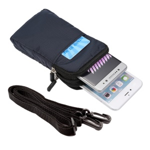 Belt Bag Waist Pack Pouch with Carabiner for iPhone X/8/8 Plus/7 Plus/Samsung Galaxy S9+/S8+, Size: 16.5 x 9 x 3cm - Dark Blue