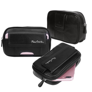 PIERRE CARDIN Waist Bag Genuine Leather Zip Pouch for iPhone 7 Plus/7/6s/6s Plus Etc - Black