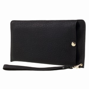 Bark Texture Leather Universal Pouch Handbag for Samsung A9/Sony XA Ultra Etc - Black