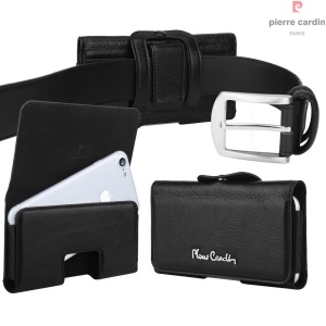PIERRE CARDIN Genuine Leather Pouch Holster for iPhone 7/6s/6, Size: 140 x 70 x 9mm - Black