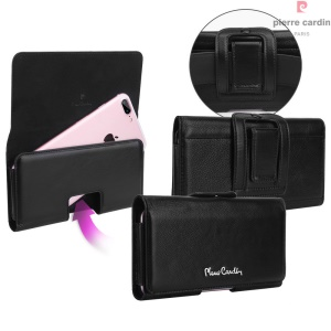 PIERRE CARDIN Genuine Leather Holster Case for iPhone 7 Plus, Size: 160 x 80 x 10mm - Black