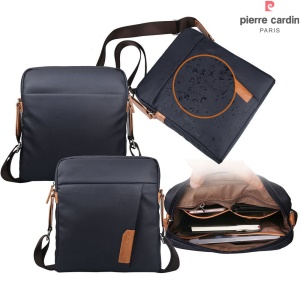 PIERRE CARDIN Canvas Skin Shoulder Messenger Pouch Bag for iPad Pro 9.7-inch