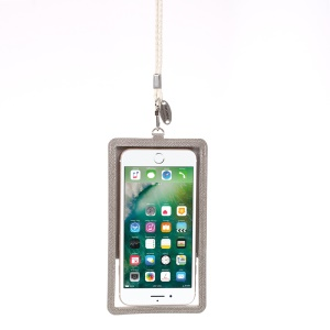 ROAR KOREA Chic! Universal Dual Window Leather Pouch for iPhone 7/6s/6 Etc - Gray