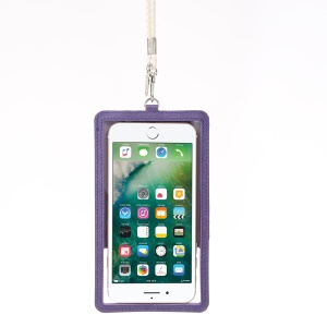 ROAR KOREA Chic! Window View Leather Pouch with Neck Strap for iPhone 7/6s/6 Etc - Purple