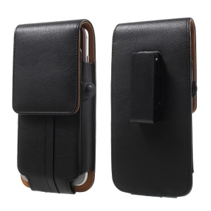 Card Holder Leather Holster Pouch for iPhone 7 Plus / Huawei P9 Plus, Size: 160 x 82 x 15mm - Black