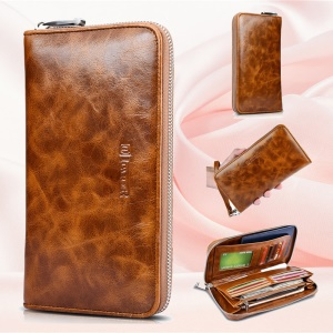 ICARER Universal Oil Wax Genuine Leather Wallet Case for iPhone 7 Plus /Huawei Mate 9 Etc - Brown