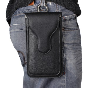 Elephant Texture Leather Pouch Holster with Carabiner for iPhone 7 Plus, Inner Size 18x9.5cm - Black