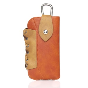 Vintage Elephant Texture Leather Outdoor Pouch Mobile Case for iPhone 7 Plus, Size: 160 x 84 x 12mm - Orange