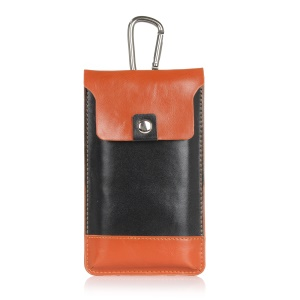 Bi-color Leather Pouch with Carabiner for iPhone 7 Plus, Inner Size 17x9cm - Black / Orange