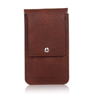 Elephant Texture Leather Pouch Case Holster for iPhone Samsung, Size: 171 x 105 x 10mm - Coffee