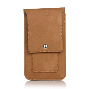 Elephant Texture Leather Pouch Bag Case Holster for iPhone Samsung, Size: 171 x 105 x 10mm - Brown