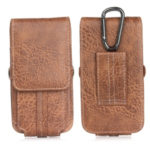 Elephant Card Holder Vertical Leather  Flip Holster Case with Belt Loop, Size: 130 x 65 x 10mm - Light Brown