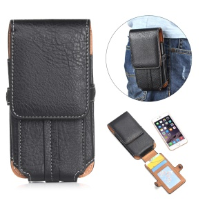 Size 140 x 73 x 10mm Card Slots Vertical Flip Leather Holster Case with Belt Loop for iPhone 7 6s 6 Etc - Black