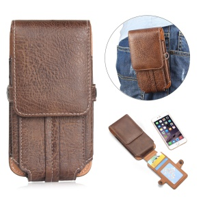 Vertical Flip Belt Loop Leather Card Holder Holster for iPhone 7 6s 6 Etc, Size: 140 x 73 x 10mm - Dark Brown