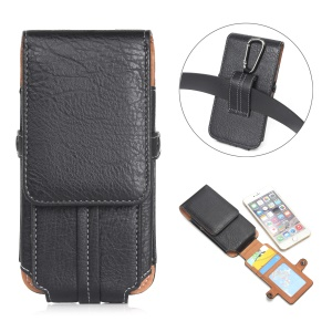 Size 159 x 78 x 10mm Belt Loop Card Slots Vertical Leather Holster Case for iPhone 7 Plus/ 6s Plus Etc - Black