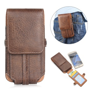 Belt Loop Card Slots Vertical Leather Holster Pouch for iPhone 7 Plus/ 6s Plus Etc, Size 159 x 78 x 10mm - Dark Brown